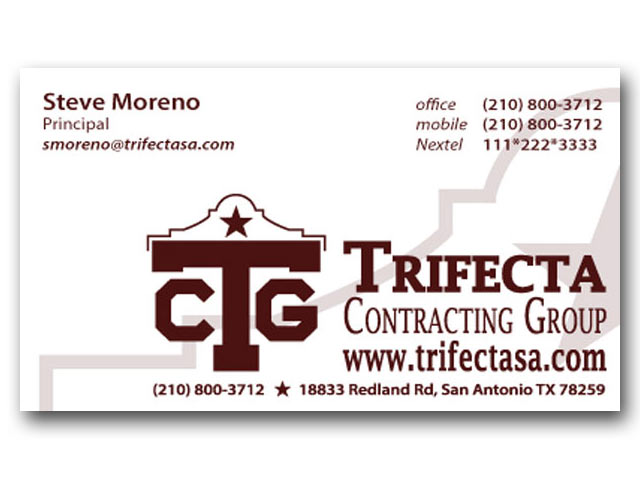 Trifecta Contracting Group business card design