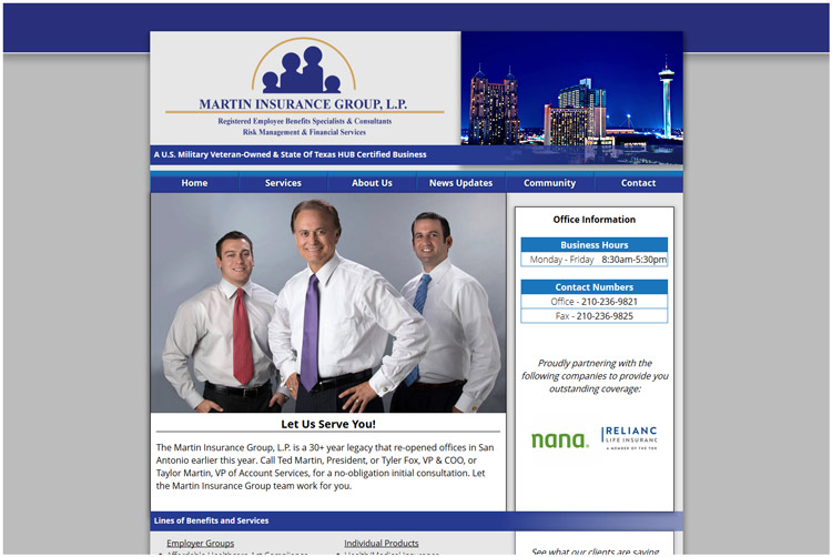 The Martin Insurance Group Client Web Design